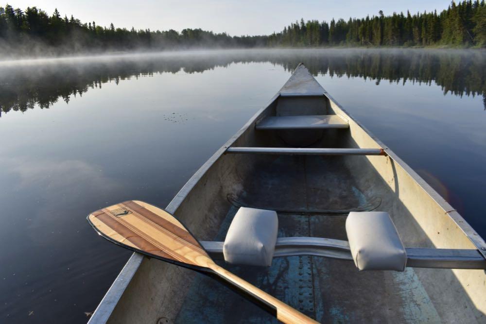 canoe on bow lake, okontoe